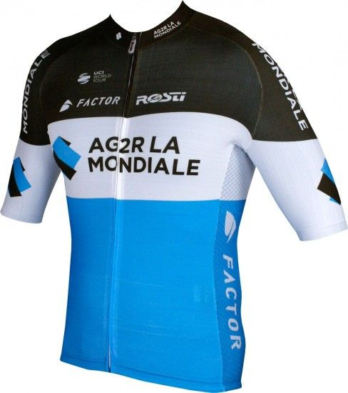 Rosti Ag2R La Mondiale 2018 Premium Short Sleeve Cycling Jersey (Long Zip) - Professional Cycling Team