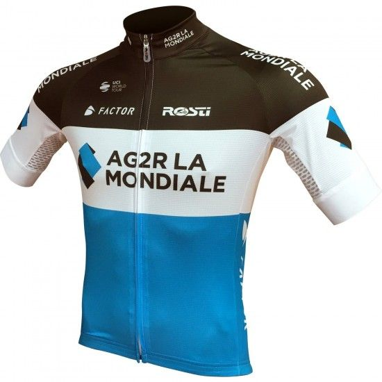 Rosti Ag2R La Mondiale 2018 Short Sleeve Cycling Jersey (Long Zip) - Professional Cycling Team