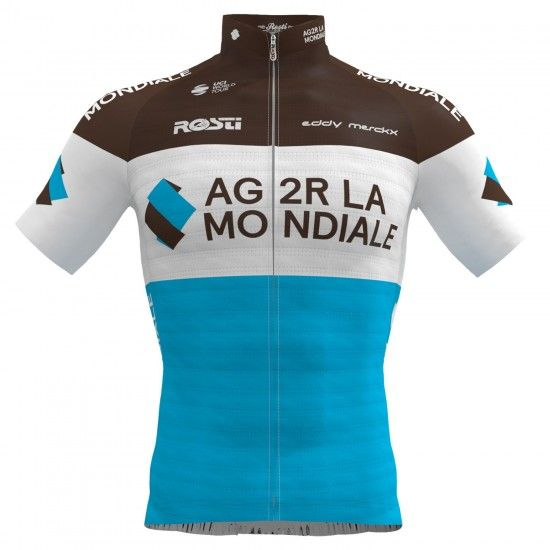 Rosti Ag2R La Mondiale 2019 Short Sleeve Cycling Jersey (Long Zip) - Professional Cycling Team