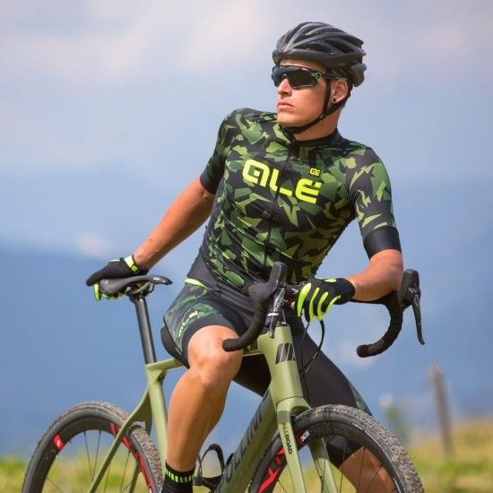Alé Ale Glass Short Sleeve Cycling Jersey Black/Green Camouflage