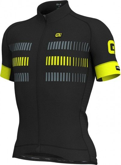Alé Ale Strada Short Sleeve Cycling Jersey Black/Yellow Fluo