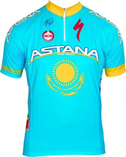 Moa Astana Kazakh Champ 2013 Professional Cycling Team - Cycling Jersey With Short Zip