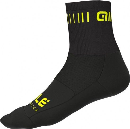 Alé Ale Strada Q-Skin Cycling Socks Black/Fluo Yellow
