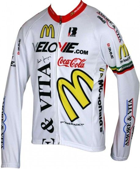 Biemme Amore & Vita White Long Sleeve Jersey - Professional Cycling Team
