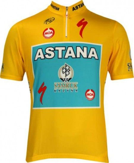 Nalini Astana Tour - Champion / Yellow Jersey 2010 Professional Cycling Team - Cycling Jersey With Short Zip