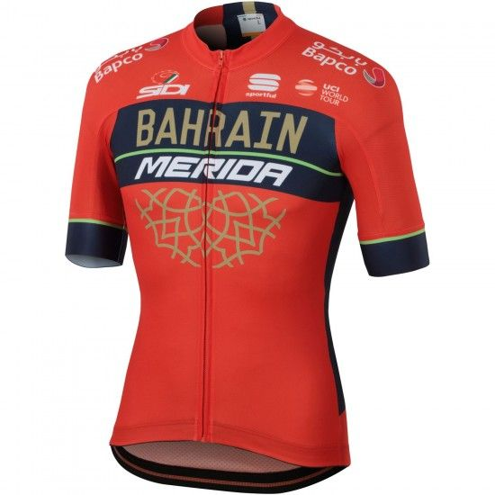 Sportful Bahrain Merida 2018 Short Sleeve Cycling Jersey (Long Zip) - Professional Cycling Team