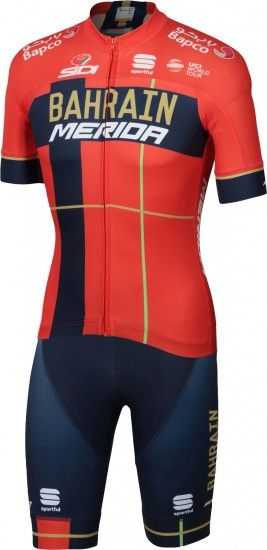 Sportful Bahrain Merida 2019 Short Sleeve Cycling Jersey (Long Zip) - Professional Cycling Team