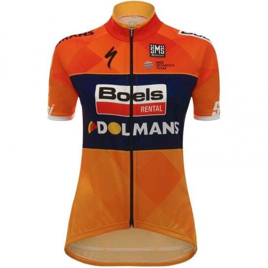 Santini Boels Dolmans Cyclingteam 2017 Short Sleeve Jersey For Ladies (Long Zip) - Cycling Team