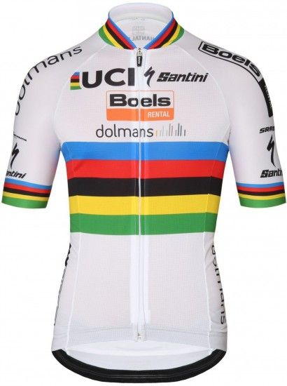 Santini Boels Dolmans Road World Champion 2018 Short Sleeve Cycling Jersey - Professional Cycling Team