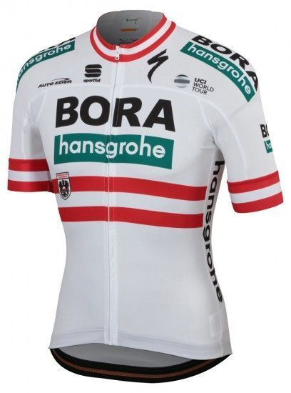 Sportful Bora-Hansgrohe Austrian Champion 2019 Short Sleeve Cycling Jersey (Long Zip) - Professional Cycling Team