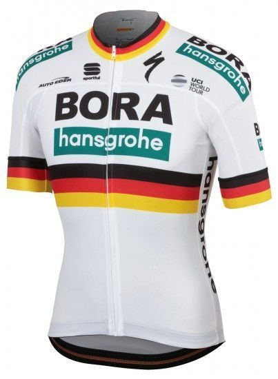 Sportful Bora-Hansgrohe German Champion 2019 Short Sleeve Cycling Jersey (Long Zip) - Professional Cycling Team
