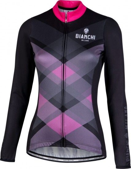 Bianchi Milano Cornedo Womens Long Sleeve Cycling Jersey Black/Pink (I18-4700)