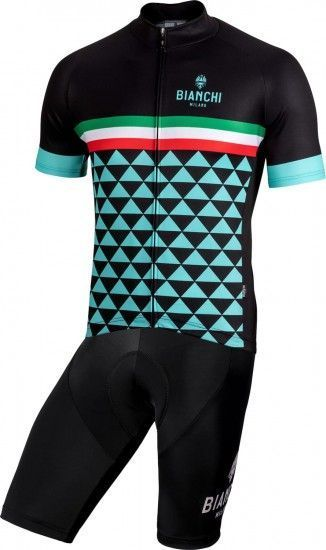 Bianchi Milano Cycling Set (Jersey Codigoro + Bibshort Legend) Black (E19)
