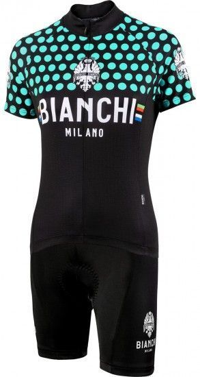Bianchi Milano Womans Cycling Set (Jersey Crosia + Cycling Shorts Jabalon) Celeste (E19)
