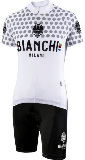Bianchi Milano Womans Cycling Set (Jersey Crosia + Cycling Shorts Jabalon) White (E19)