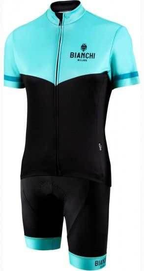 Bianchi Milano Womans Cycling Set (Jersey Ginosa + Cycling Shorts Avola) Celeste/Black (E19)