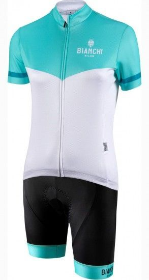 Bianchi Milano Womans Cycling Set (Jersey Ginosa + Cycling Shorts Avola) Celeste/White (E19)