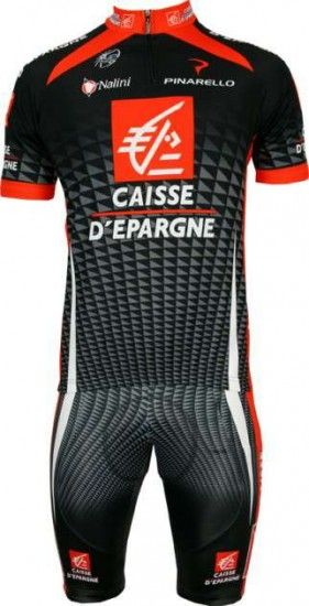 Nalini Caisse D'Epargne 2010 Professional Cycling Team - Cycling Set (Jersey With Short Zip And Bib Short)