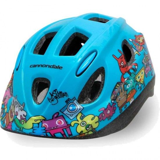Cannondale Quick Junior Kids Cycling Helmet Lightblue - Design By Jon Burgerman
