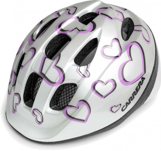 Carrera Children Cycling Helmet Pepe White Hearts