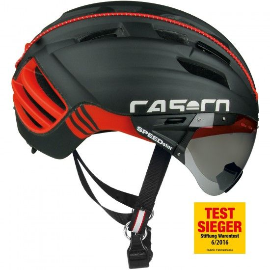 Casco Speedster Tc Plus Cycling Helmet With Flip-Up Visor Black-Red