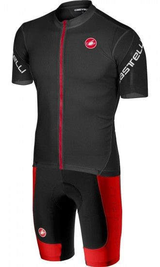Castelli Entrata 3 + Evoluzione 2 Cycling Set (Short Sleeve Jersey Long Zip + Bib Shorts) Dark Black/Red