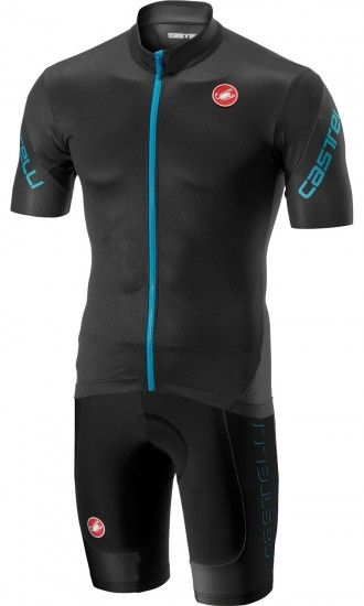 Castelli Entrata 3 + Evoluzione 2 Cycling Set (Short Sleeve Jersey Long Zip + Bib Shorts) Dark Gray/Black