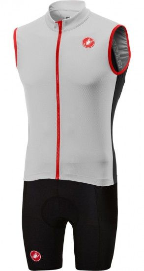 Castelli Entrata 3 + Evoluzione 2 Cycling Set (Sleeveless Sleeve Jersey + Cycling Shorts) White/Black