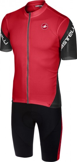 Castelli Entrata 3 + Velocissimo Iv Cycling Set (Short Sleeve Jersey + Bibshort) Black/Red
