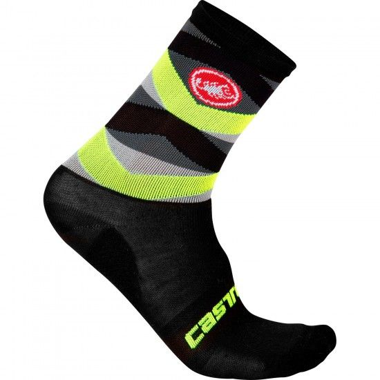 Castelli Fatto 12 Cycling Socks Black/Yellow Fluo