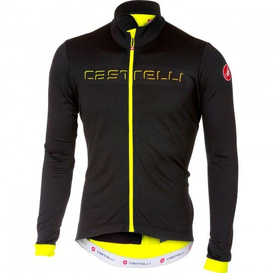 Castelli Fondo Long Sleeve Cycling Jersey Black/Yellow Fluo