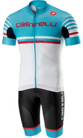 Castelli Free Aero Race Kit Cycling Set (Short Sleeve Jersey Long Zip + Bib Shorts) Black/Sky Blue