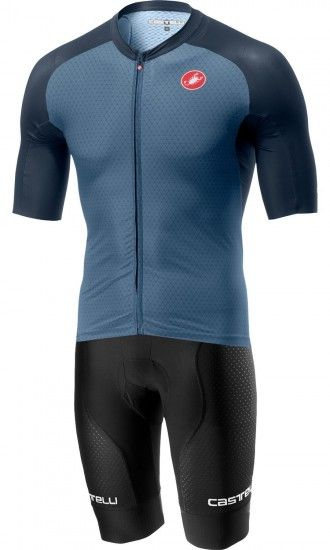 Castelli Free Aero Race Team Cycling Set (Short Sleeve Jersey Long Zip + Bib Shorts) Light Steel Blue/Black