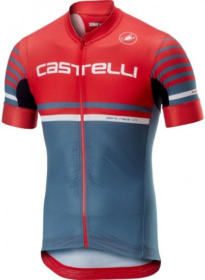 Castelli Free Ar 4.1 Short Sleeve Cycling Jersey Red/Light Steel Blue