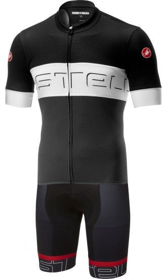 Castelli Prologo Vi + Volo Cycling Set (Short Sleeve Jersey Long Zip + Bib Shorts) Black/White