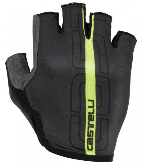 Castelli Tempo - Short Finger Cycling Gloves Anthracite/Yellow Fluo