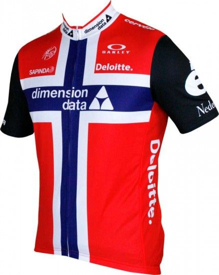 Moa Dimension Data 2016 Norwegian Champ Short Sleeve Jersey (Long Zip) - Professional Cycling Team