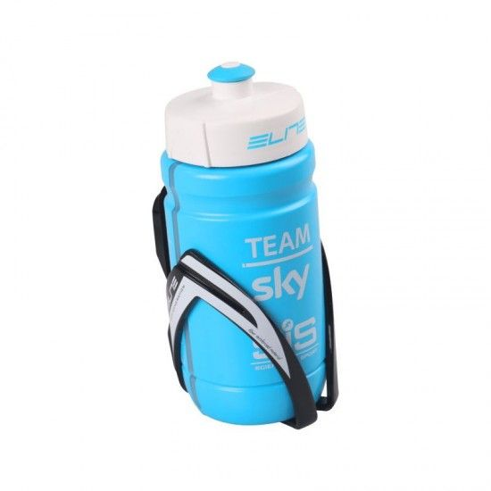 Elite Kit Waterbottle 350Ml Team Sky + Bottle Cage New Generation (Black/White)