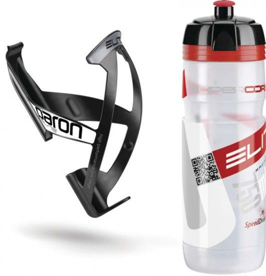 Elite Kit Waterbottle Supercorsa (Transparent) + Bottle Cage Paron (Black)