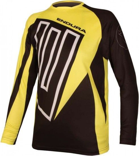 Endura Mt500Jr Kids Long Sleeve Cycling Jersey Black/Yellow (E7121Bk)