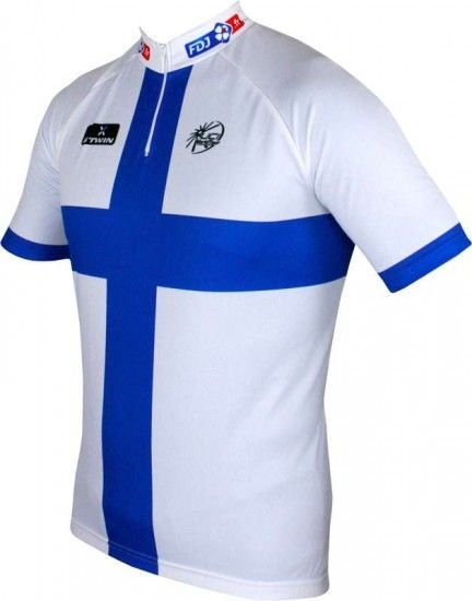 Btwin Francaise Des Jeux (Fdj) Finnish Champ 2014/2015 Cycling Jersey (Short Zip) - B'Twin Professional Cycling Team