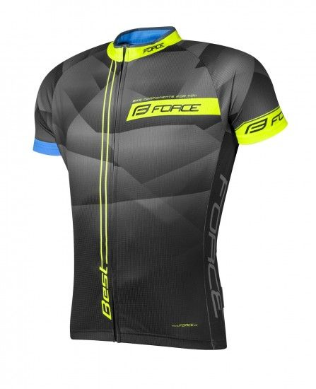 Force Best Short Sleeve Cycling Jersey Black/Fluo Yellow (900128)