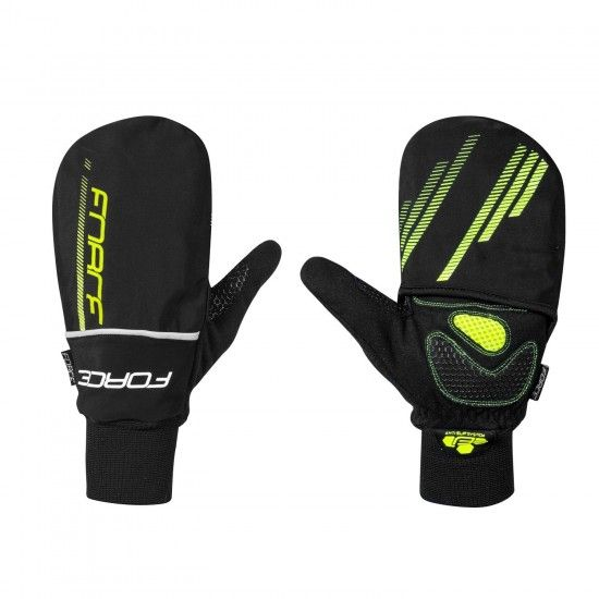 Force Cover 2-1 Long Finger Cycling Gloves Fluo Black/Yellow (90463)