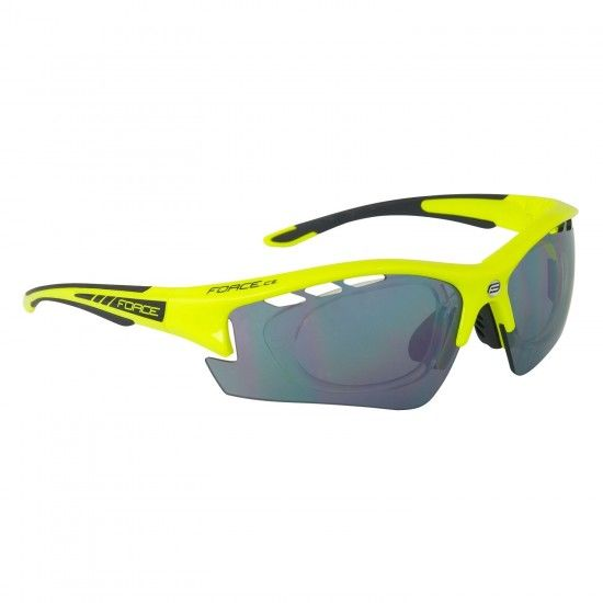 Force F Ride Pro Bike-/ Sport Eyewear Fluo Yellow Incl. Dioptric Clip + 2 Extra Lens (909223)