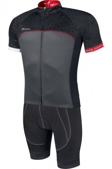 Force Finisher Cycling Set (Short Sleeve Jersey Long Zip + Bib Shorts) Black/Red