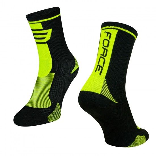Force Long Cycling Socks Black-Fluo Yellow (900996)