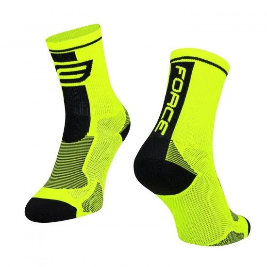 Force Long Cycling Socks Fluo Yellow-Black (900991)