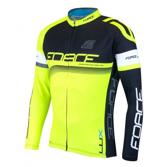 Force Lux Long Sleeve Cycling Jersey Black/Fluo Yellow (900141)