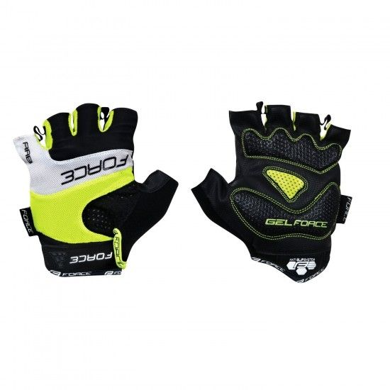 Force Rab Short Finger Cycling Gloves Fluo Yellow/Black (905240)