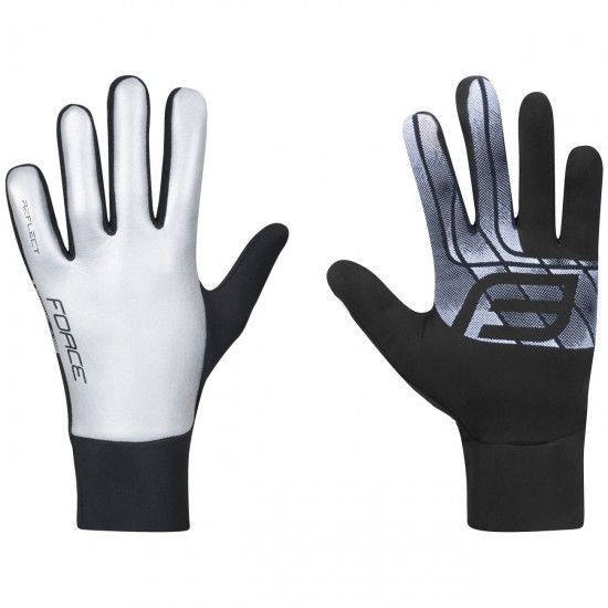 Force Reflective Long Finger Gloves Silver (90467)